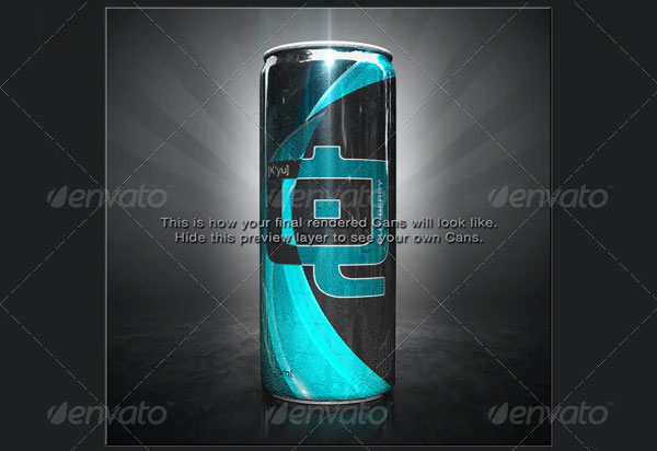 3D Energy Drink Soda Can Mockup