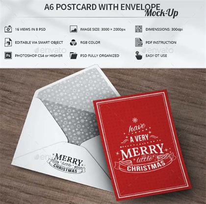 A6 Postcard with Envelope Mock-Up Template