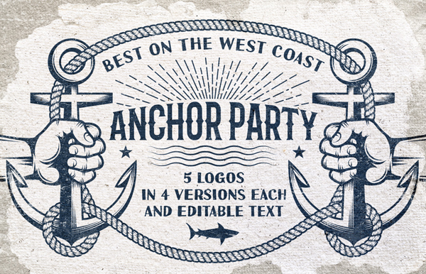 Anchor Retro Logo Templates