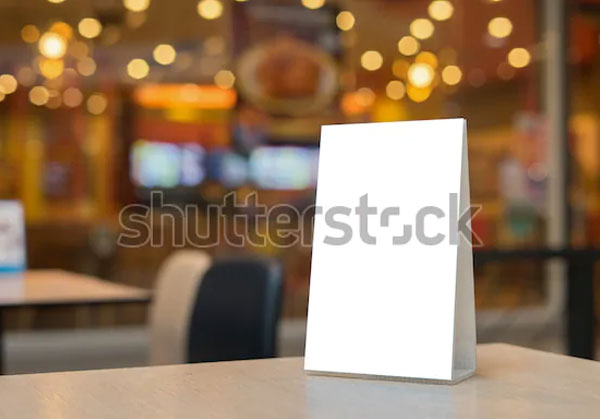 Bar Restaurant Table Tent Mockup