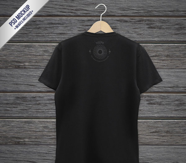 Black T-shirt Back Mockup Free