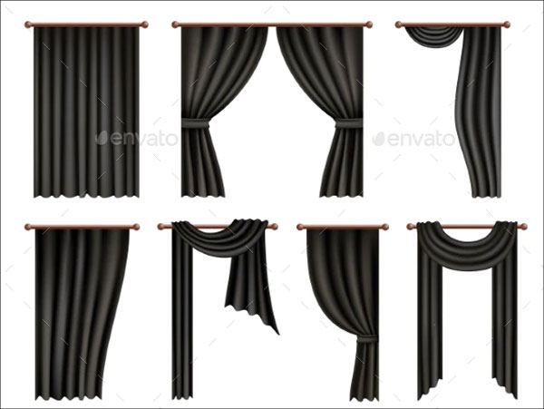 Black Window Curtain and Drape Mockup Set