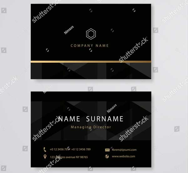 Black Managing Director Business Card Template