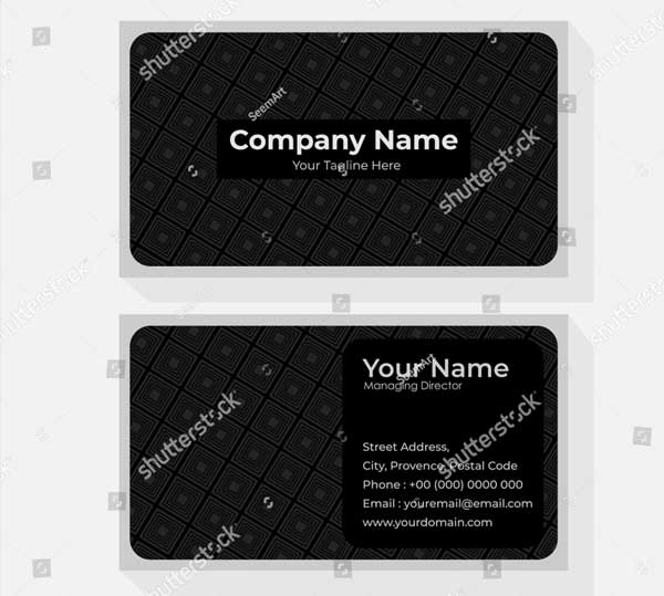 Black Visiting Card Template