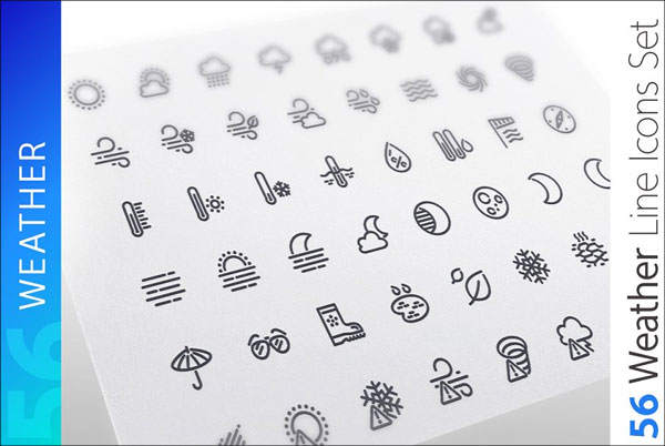 Blank Weather Line Icons Set