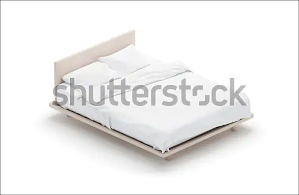 Blank White Bed Mattress Mockup
