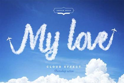Cloud Text Photoshop Action