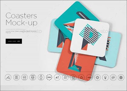 Creative Coasters Mock-up Template