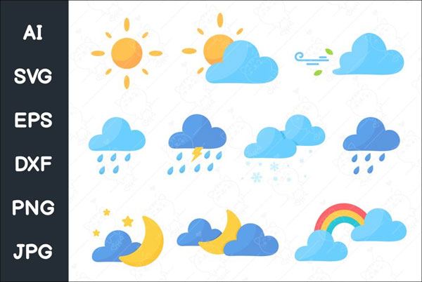 Cute Weather Icon Set