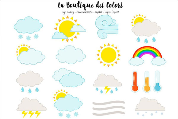 Cute Weather Icons Clipart
