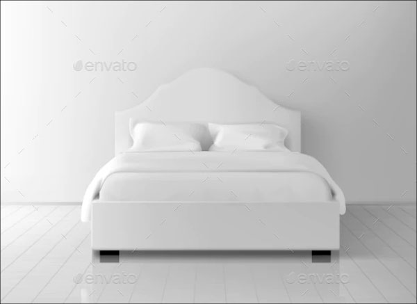 Double Bed with White Mattress Mockup