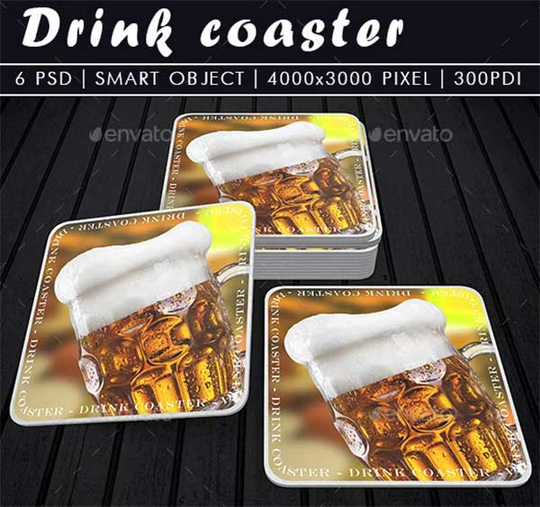 Drink Coaster PSD Mock-Up Template
