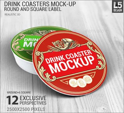 Drink Coasters Round and Square Label Mock-Up