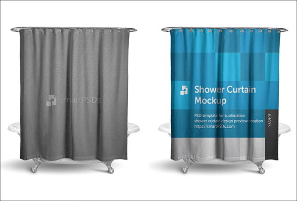 Editable Shower Curtain Mockup