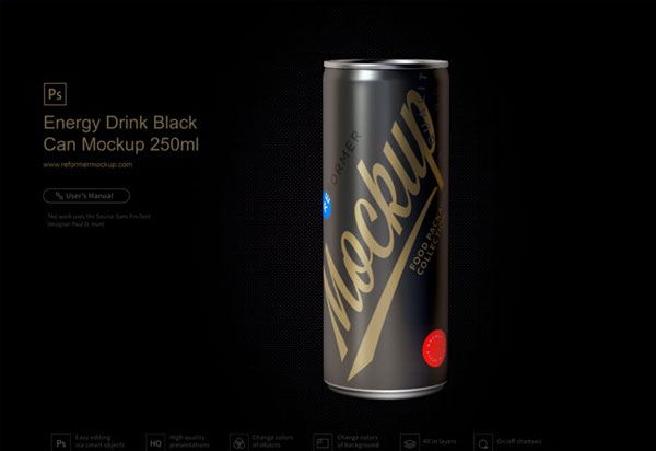 Energy Drink Black Can Mockup