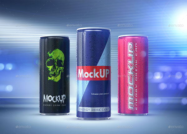 Energy Drink Can Mockup Template