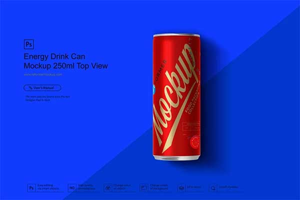 Energy Drink Can Mockup Top View