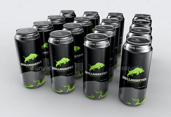 Energy Drink Cans Photoshop Mockup