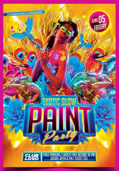 Printable Paint Party Flyer and Poster Template