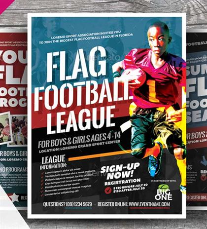 Flag Football Flyer Template