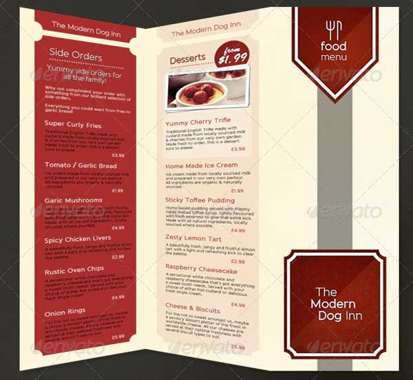 Fold Pub Food Menu Brochure Template