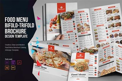 Food Menu Bifold-Trifold Brochure Design Templates