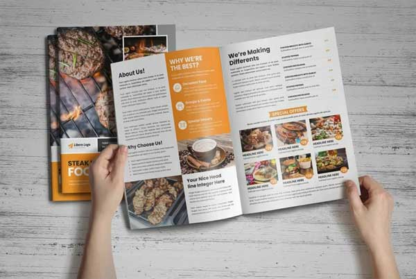 Food Menu Bifold-Trifold Brochure Templates