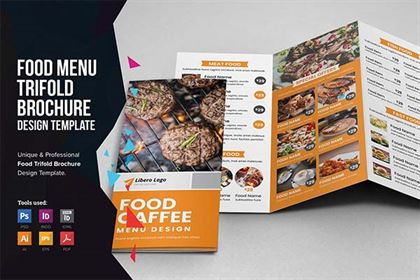 Food Menu Trifold Brochure Designs