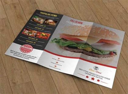 Food Menu Trifold Brochure Design