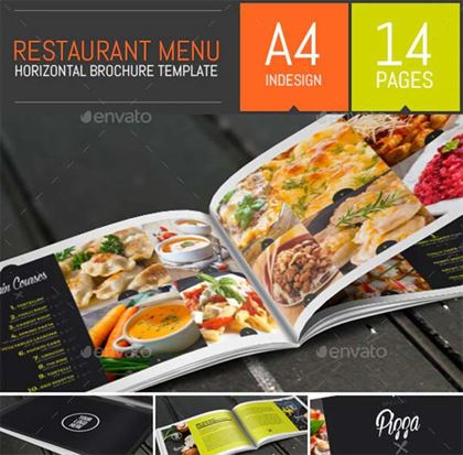 Food Restaurant Menu Brochure Bi-Fold Template
