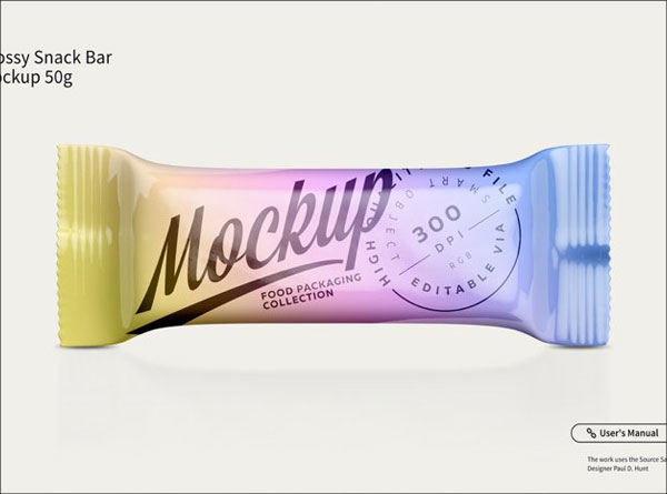 Free Glossy Snack Bar Packaging Mockups