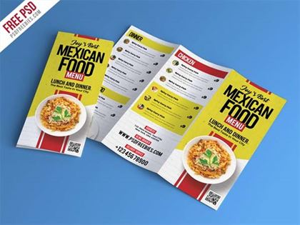 Free PSD Food Restaurant Menu Brochure Template