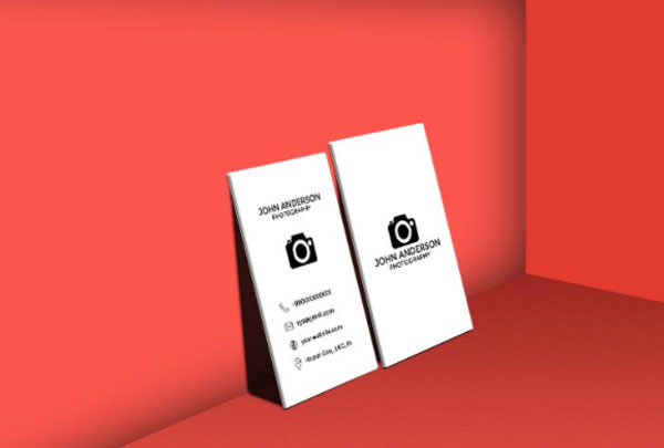 Free Photographer Vertical Business Card