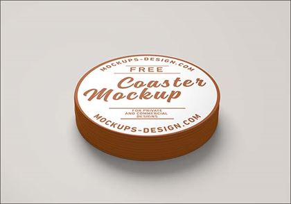 Free Round Coaster Mockup Template