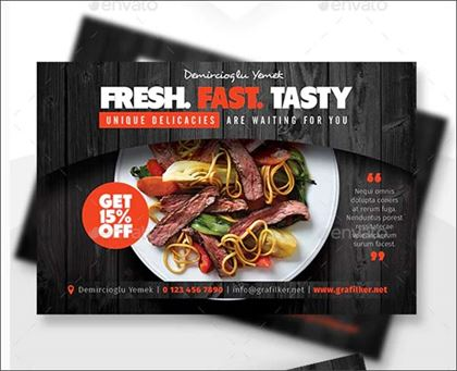 Fresh Restaurant Postcard Templates