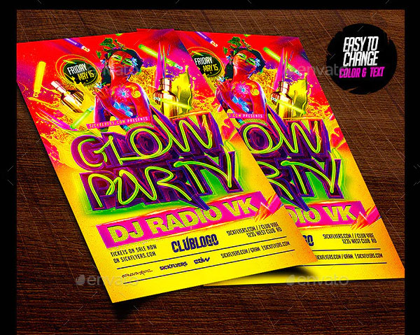Glow Paint Party Flyer