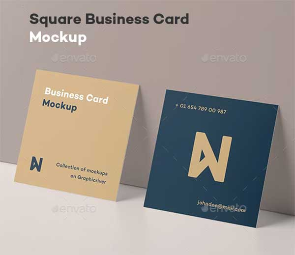 Gold Square Business Card Mock-up