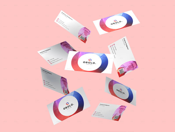 Gradient Circle Business Card Mockup