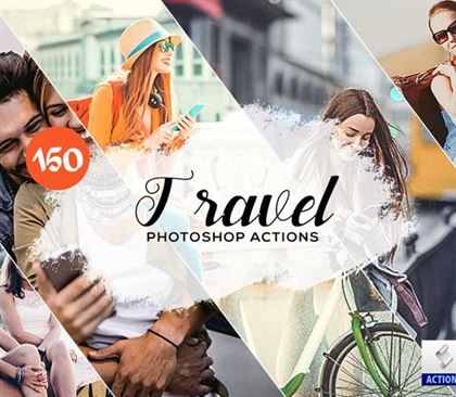 Hologram Travel Photoshop Actions Templates