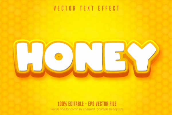 Honey Text Cartoon Style Editable Text Effect