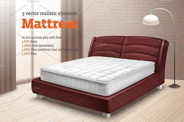 Mattress Realistic Mockup Set