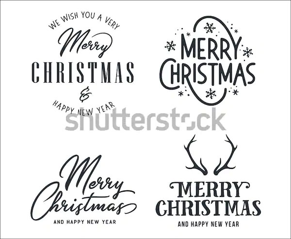 Merry Christmas and Happy New Year Logo Templates