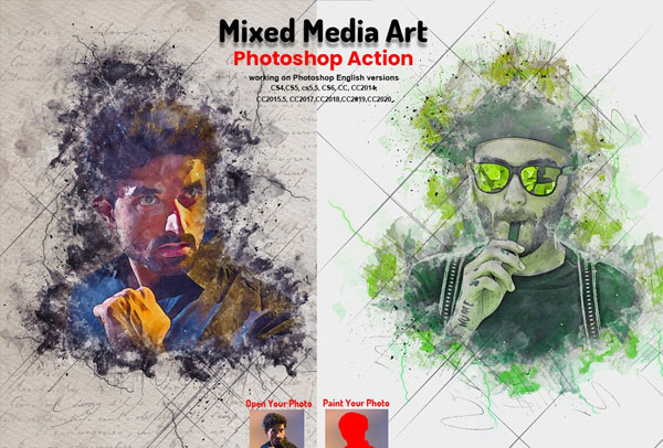 Mixed Media Art Photoshop Action Template