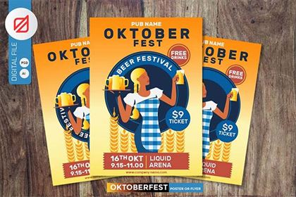 Oktoberfest Beer Party Poster Design Template