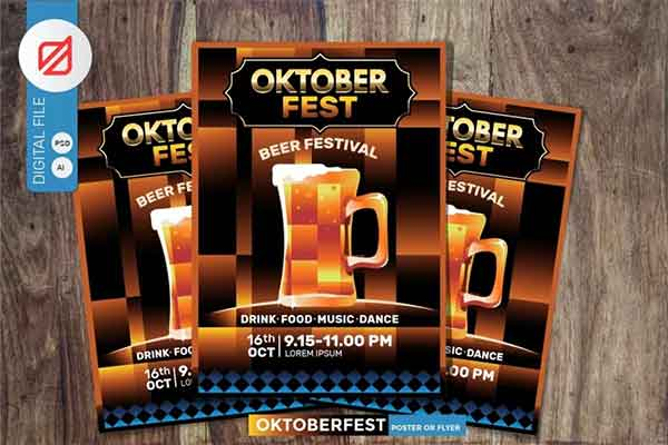 Oktoberfest Beer Party Poster PSD Design