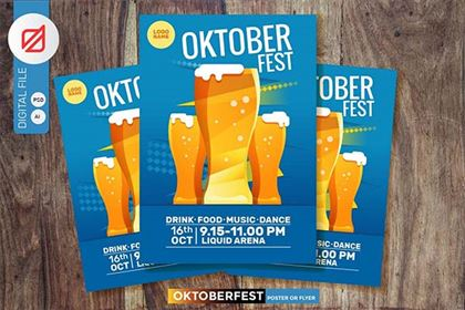 Oktoberfest Beer Party Poster Template Design