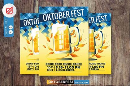 Oktoberfest Beer Party Poster or Flyer Template
