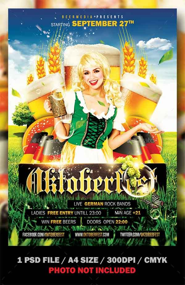 Oktoberfest Flyer and Poster PSD Design