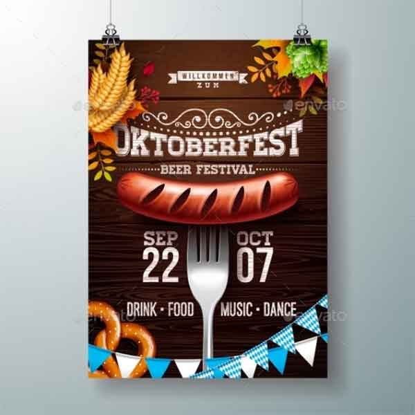 Oktoberfest Illustration Poster Template