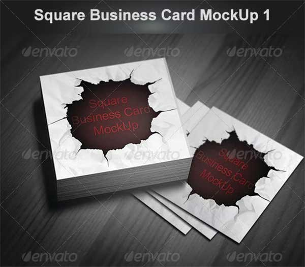 PSD Square Business Card Mockup